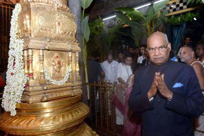 President Ramnath Kovind offers prayers at Lord Venkateswara Temple in Tirumala