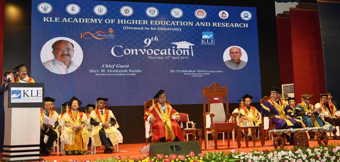 Vice President addresses 9th Convocation of KLE Deemed
