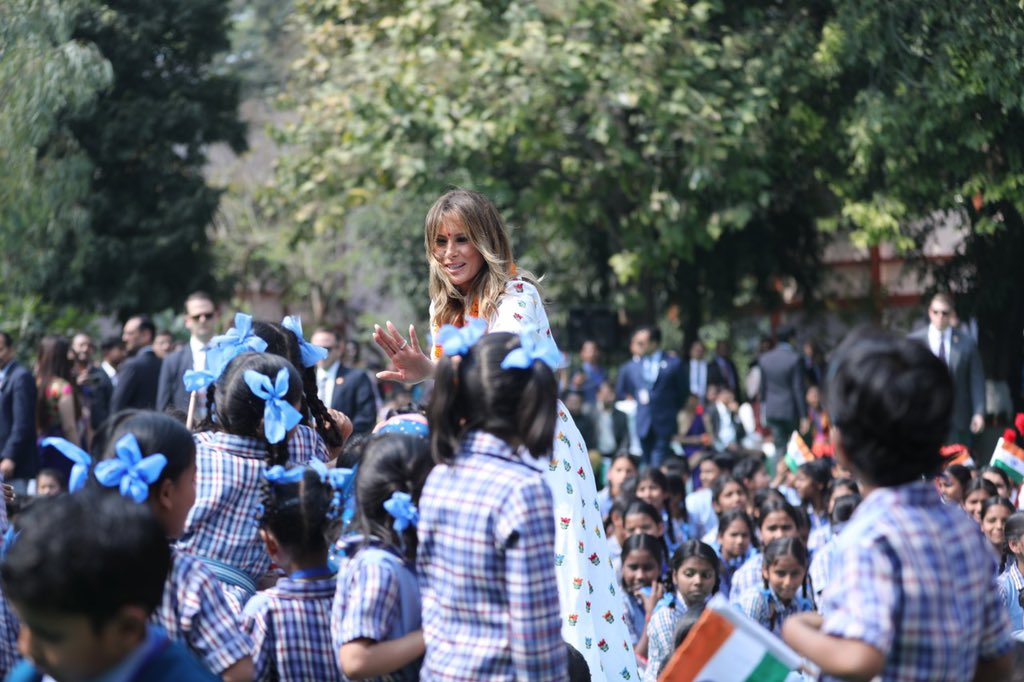 Melania Trump visits 'happiness' class at Indian school